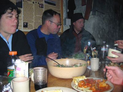 Dinner break... Kaboose, Lawnsale and Ian looking over the dinner