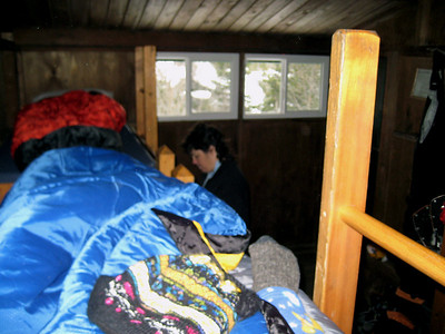 On my bunk... I know it's fuzzy but it's a picture of my brand new sleeping bag.