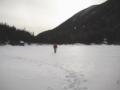 HikerBob walking across Carter Lake