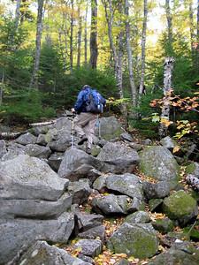 After a mile of flat, the trail starts to climb... here Scoutmaster is negotiating boulders