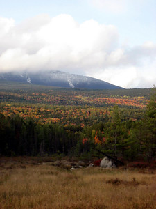 Driving into the park, we could see the snow on the shoulder of Katahdin.