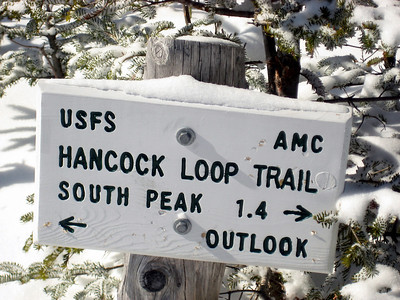 Sign on the top of 4,420-foot North Hancock