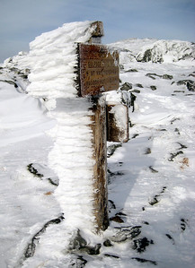 Rime ice on the sign in the Clay col