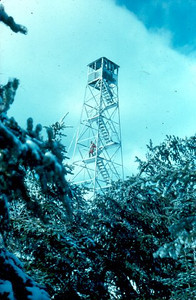 Here's what the fire tower looked like before it was removed in 1965. (Picture courtesy of firelookout.org.)