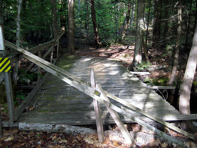 Scary bridge... the trail actually rock hops the brook right next to it.