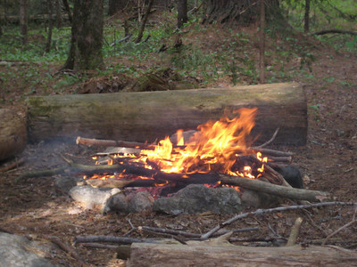 Another group lit a fire... it kept the bugs away at least