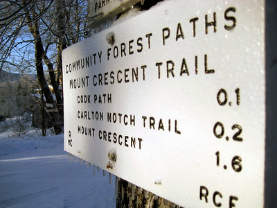 Icy trail sign