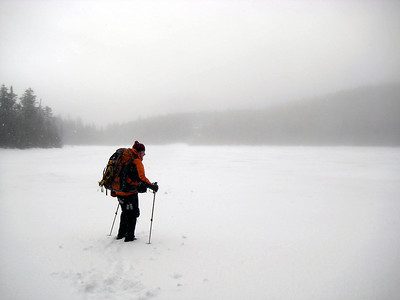 HikerBob checking the ice at Lonesome Lake