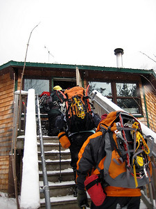 Heading into the hut for lunch