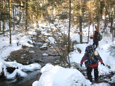 Rocksnrolls and Dugan walking along the brook