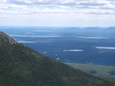 Looking out over the Hunt Trail on Katahdin to a bunch of lakes