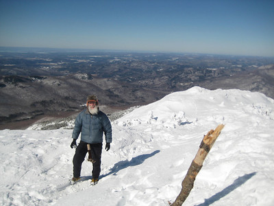 Cumulus on the summit of Camels Hump- he's been here 3 consecutive seasons now.
