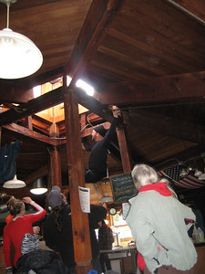 Unfrozen Caveman going up to the skylight.