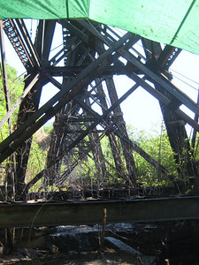 The train trestle was dripping creosote so there is a big tarp underneath it.
