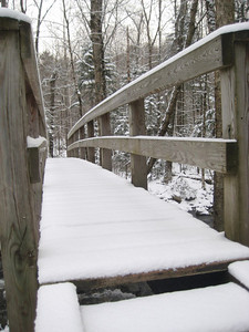 Bridge at the start-- trail was untracked... I only saw three other hikers all day.