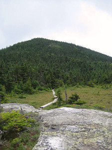 Looking back at West Baldpate from a bog bridge