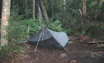 I had the East Baldpate tent site to myself. It rained on and off but didn't do anything to abate the heat.