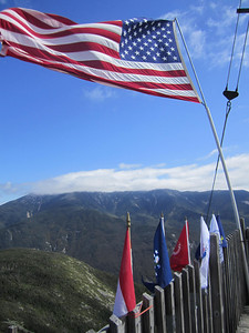Flags with Franconia Ridge in the background