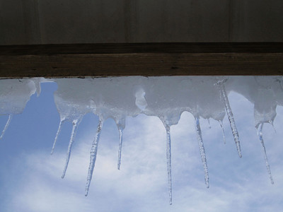 Icicles on the hut roof