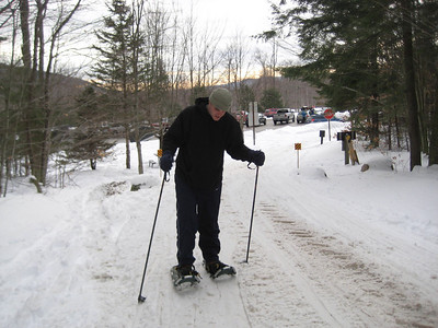 Shaggy on his snowshoes at Flume Gorge