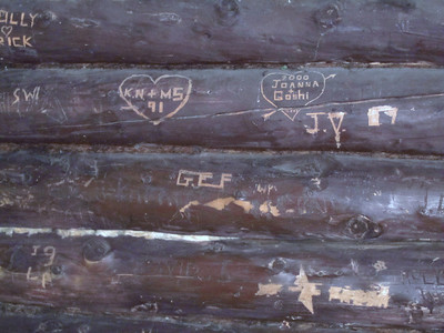 Some of the graffiti on the shelter walls