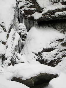 Close up of the icicles in the waterfall