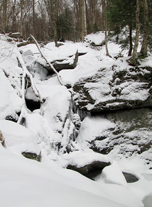 The waterfall on the Waterbury Trail