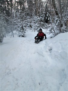 Deb on her sled
