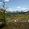 <b>30 July 2011</b> Looking from Citadel Pass towards Mount Assiniboine, with vivid memories from last year of carrying the Offspring on the inside, where he would squirm around and steal my oxygen.