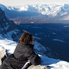 <b>5 Feb 2012</b> Enjoying the view of the Bow Valley from the summit - from the nice safe lying down position
