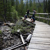<b>26 June 2010</b> Resting on the footbridge on the hike out from Arnica Lake
