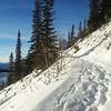 <b>15 December 2012</b>  Solo run along shore of Lake Minnewanka - finally the sun hit the trail, around 11am.