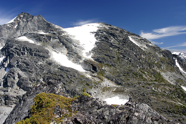 Looking over at Tszil Mountain (rounded mountain in the center) and Slalok Mountain (tallest peak on the far left) from Taylor Peak subsummit.