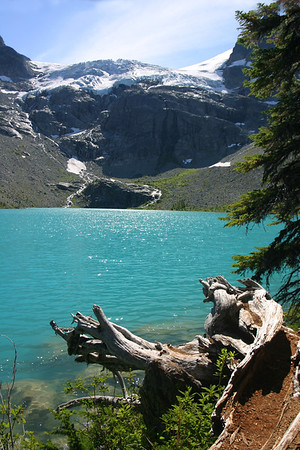 Another view of Upper Joffre Lake with the Matier Glacier above.