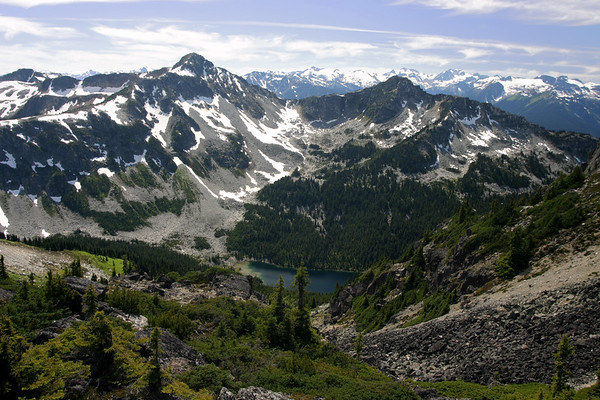 Looking South from the saddle of Tszil and Taylor. Duffey Peak is the next mountain over. I can't seem to find the name of the lake, but it looks like a great place to explore.