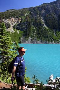 Scott pondering Phase 2a QA along the trail near Upper Joffre Lake.