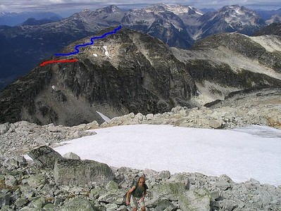 Another picture that is courtesy of Marek's Mountain site.   This picture was taken from the climb up Tszil and shows a great view of the mountain that Bob and I hiked (Taylor Peak). We ended up at the rocky cliff bands (as seen in the Red line). Instead, we should've followed the trail around the mountain further before heading towards the main summit (the blue line).