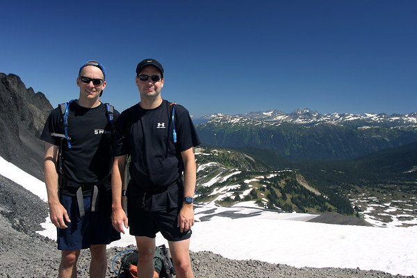 The men in Black with Whistler/Blackcomb in the background.