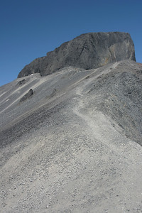 The trail supposedly ends at the Black Tusk viewpoint as the Province doesn't encourage hikers to go beyond due to loose rock and exposure. We carried on in hopes of getting the summit. This picture was taken after gaining the ridge. You can see the silver trail skirting the edge of the ridge.