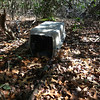 Just before we got to Slickum Falls, we came across this animal carrier.  What's it doing out here?  Is it being used to trap animals? Did someone throw it away and it washed down from the top of the falls?  ????  The door was down (closed) so it was not easy to see inside.  But, we could see that SOMETHING was in there.  Flower pots!   Five inch flower pots.   My close up pictures didn't turn out well enough to see but, that's what is in the carrier!  .