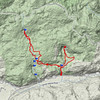 Downloading the GPS track to Visualizer, the hike looks like this in Google Earth Terrain format.
