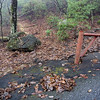 The trail begins behind a big rock next to an iron gate.  The location of the gate leads me to believe the private property is behind (beyond) the gate thus placing the trail on public property.  All the property line maps that I can find do not support this theory.  Verifiable public property is no more than 250-300 feet down this trail.  I am assuming that, if this is private property, the land owner graciously allows hikers to cross.