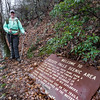In 25 minutes, we ran into the old trail that comes up from the DeSoto Falls parking lot.  Here is one of the old signs.