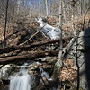 As with so many pictures(of mine), the waterfall is much steeper and higher than it appears in the photo.  Located around the 2500 foot level  (  34 43 02 N;   -83 52 13 W  )  on the northern-most tributary of Cowrock Creek, this waterfall is in the 100 foot category sliding at about 45 degrees.