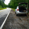 Take East Boggs Mountain Road east from US Hwy 23/441 for about 0.5 miles and park at a small pull-off.