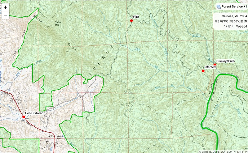 Where is Buckeye Branch?  HINT: It is not in Ohio (Home of The Ohio State Football Buckeyes!!).  Buckeye Branch is a tributary to the Chattooga River.   Buckeye joins the Chattooga just north of where the Chattooga goes under US Hwy 76.