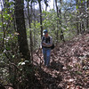 """When you come to the way point marked """"End Road1"""" there will be a Bernie's Trail going to the right.  Follow this until you drop down onto a very old logging road running along the creek bottom.  Here is John checking the location of Bernie's Trail."""