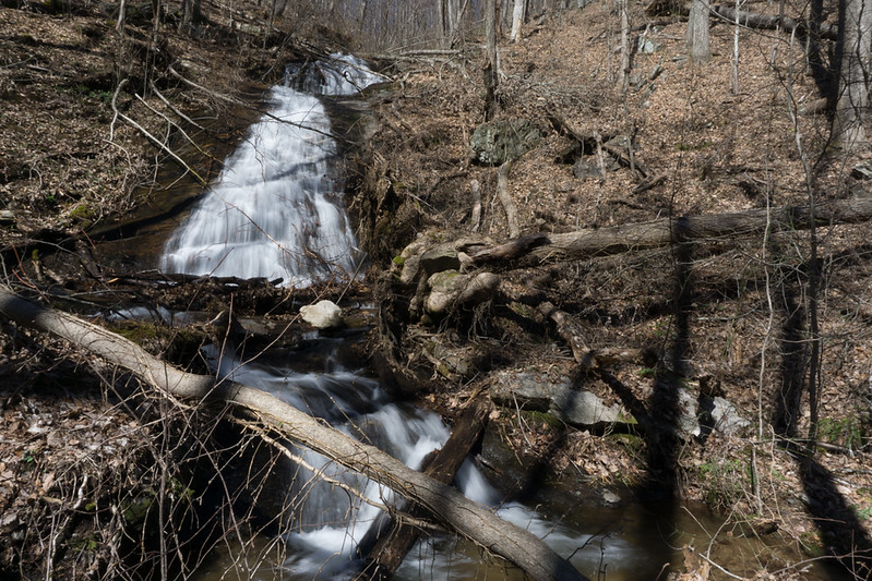 Located around the 2040 foot elevation, not too bad of a waterfall.  Summer time greenery would make it show a little better.