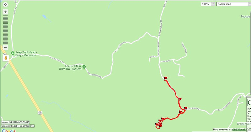 """I'm going to start by showing you where the waterfall is located.  There are two primary ways to reach the trailhead; off US Hwy 123 and off GA Hwy 17A.  From US 123, take Rock Road east and immediately turn right on the graveled Locust Stake Road.  In 2.1 miles you will come to a paved road.  The paved road is """"Bend N Hickory Road"""".  Turn right.  The pavement ends quickly and the road is gated in 0.4 miles.  Park here.  From GA Hwy 17A, take Bend N Hickory Road to the same parking place."""