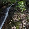 Queen Branch drops into Corbin Creek over a triad  of  waterfalls.